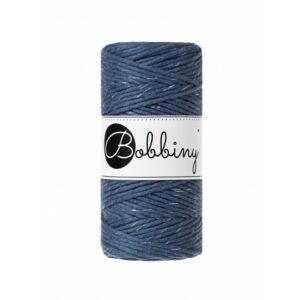 Bobbiny makramé fonal 3 mm - Csillogó - jeans ezüstszállal