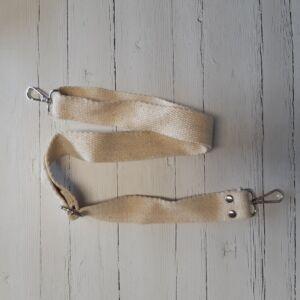 Heveder pánt táskafül karabínerrel 70-120 cm - natúr
