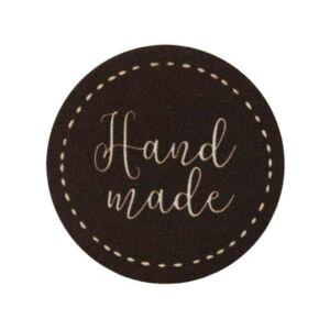 Mono Quick vasalható/varrható Handmade felirat - kör sötét barna