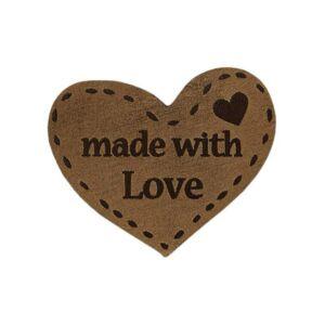 Mono Quick vasalható/varrható Handmade felirat - szív világos
