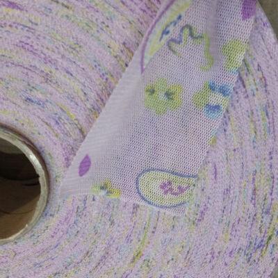 Fettuccia - mintás - lila virágok