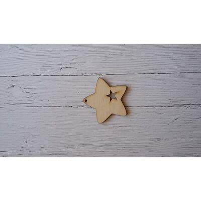 Natúr fa dísz - Karácsony - Díszített csillag 4,5 cm