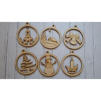 Natúr fa dísz - Karácsony - Kerek figurás dísz szett 6 db