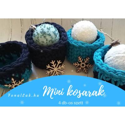Karácsonyi DIY szett - Mini kosarak zsinórfonalból - kék