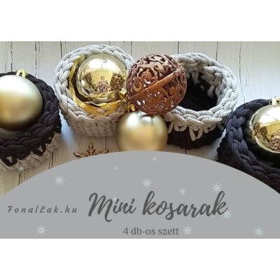 Karácsonyi DIY szett - Mini kosarak zsinórfonalból - natúr