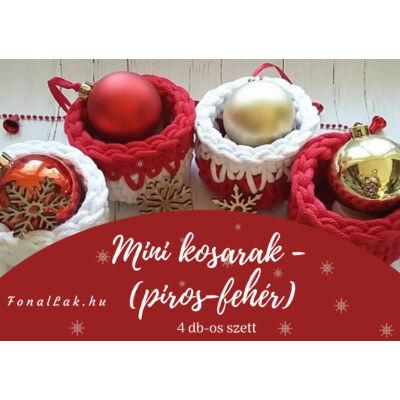 Karácsonyi DIY szett - Mini kosarak zsinórfonalból - piros-fehér