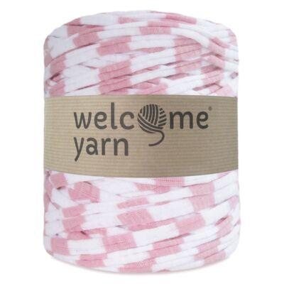 WelcomeYarn pólófonal - Pink és fehér csíkok