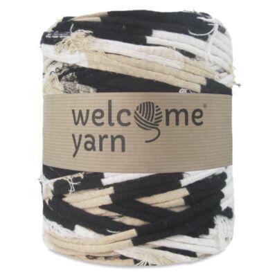 WelcomeYarn pólófonal - Bézs-fekete-fehér fuzzy