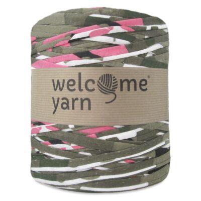 WelcomeYarn pólófonal - keki-fehér-pink mintás
