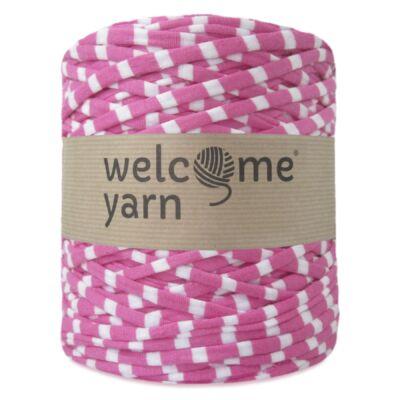 WelcomeYarn pólófonal - pink-fehér csíkos