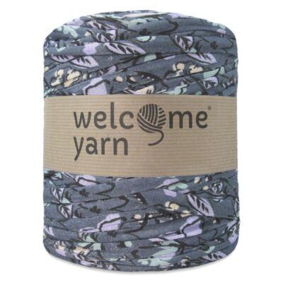 WelcomeYarn pólófonal - Szürke, zöld és viola virágok