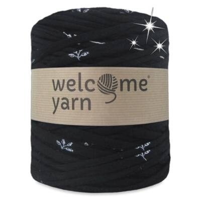 WelcomeYarn pólófonal - Fekete virágalakú csillogó