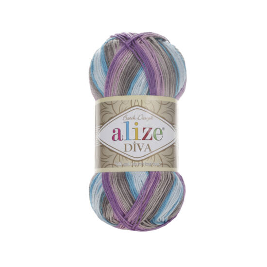 Alize Diva Batik - Lila, kék, bézs