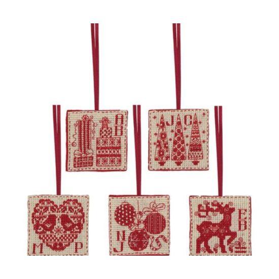 Anchor keresztszemes hímző szett - Karácsony piros-natúr