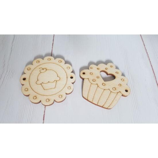 Horgolható fa alap TAVASZ - felvarrható muffin 2 db-os