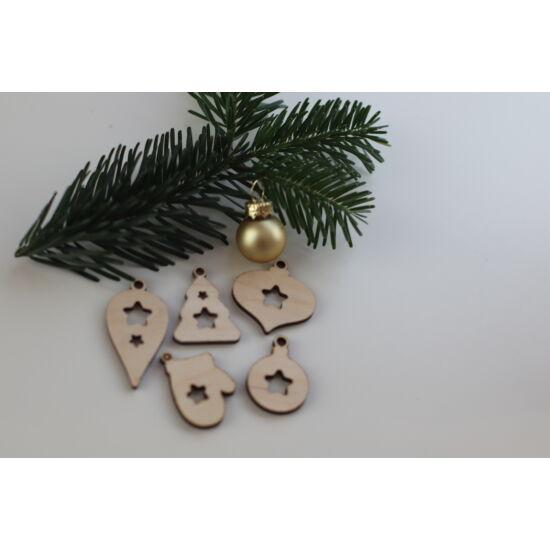 Fa karácsonyi figurák csomag - áttört csillagos