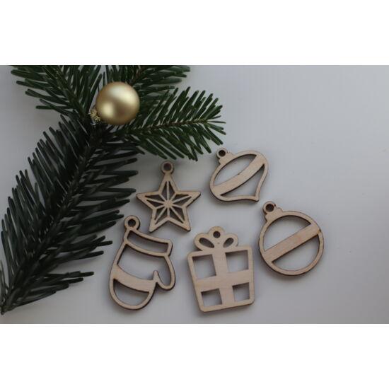 Fa karácsonyi figurák csomag - áttört kesztyűs